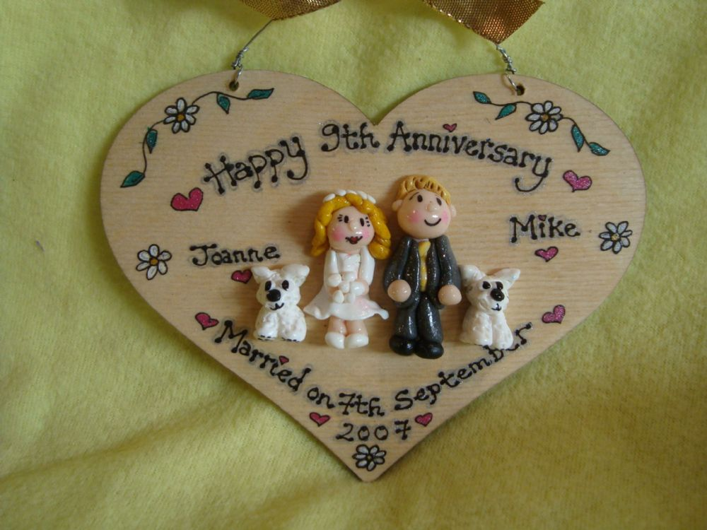 4 character Wedding Day Anniversary Personalised 3d Heart shaped wooden Sign Personalised to Order Handmade Unique Keepsake Gift